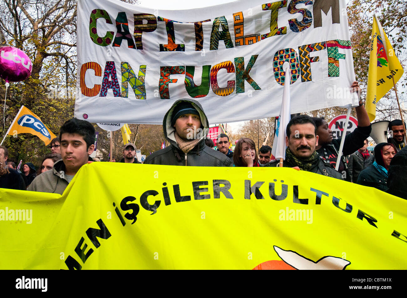 Strikers protest against government  pension reforms in Britain's first mass strike in 30 years. London,  UK. - Stock Image