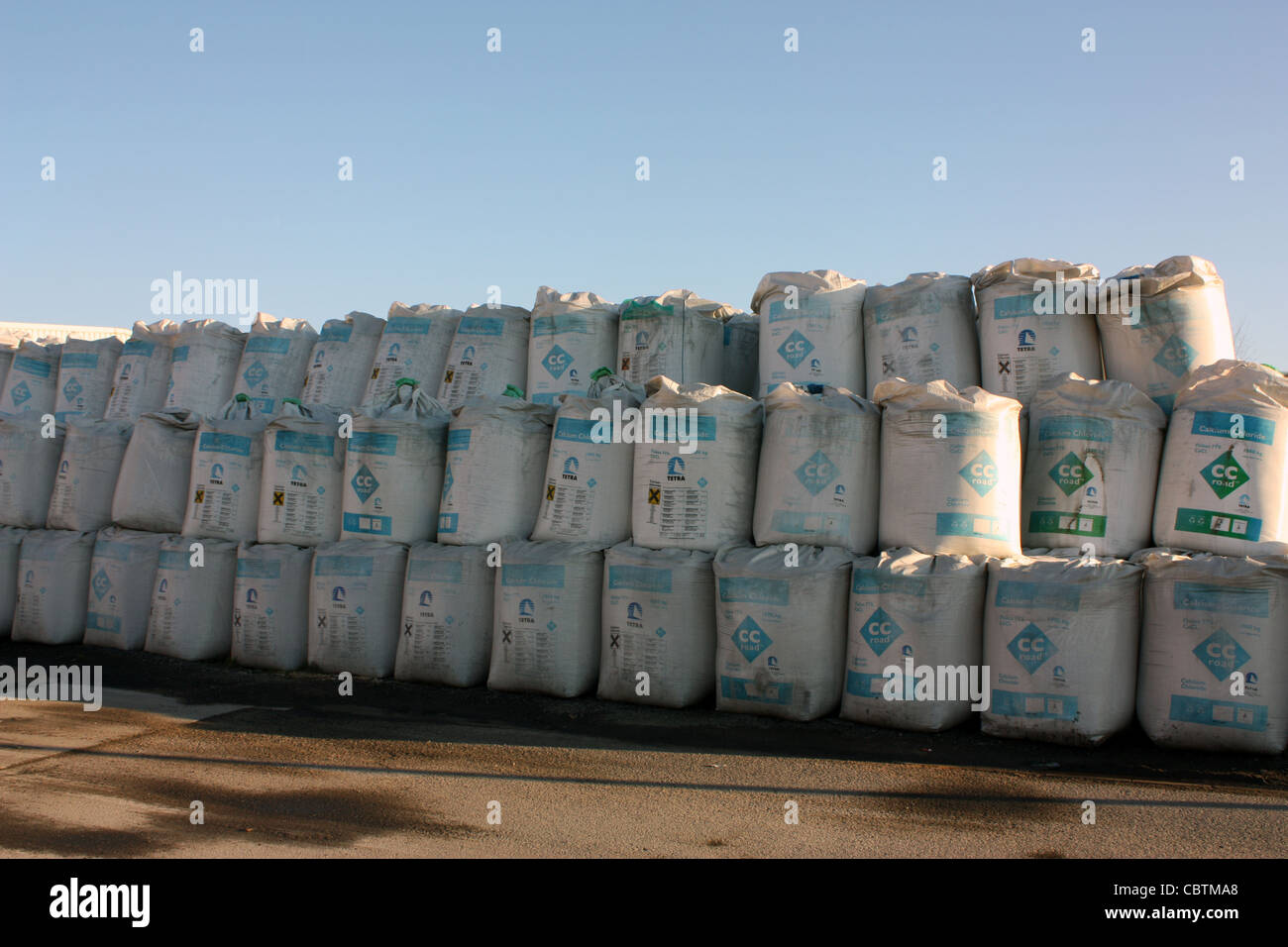 pile stack of bulk bags for transportation of goods - Stock Image