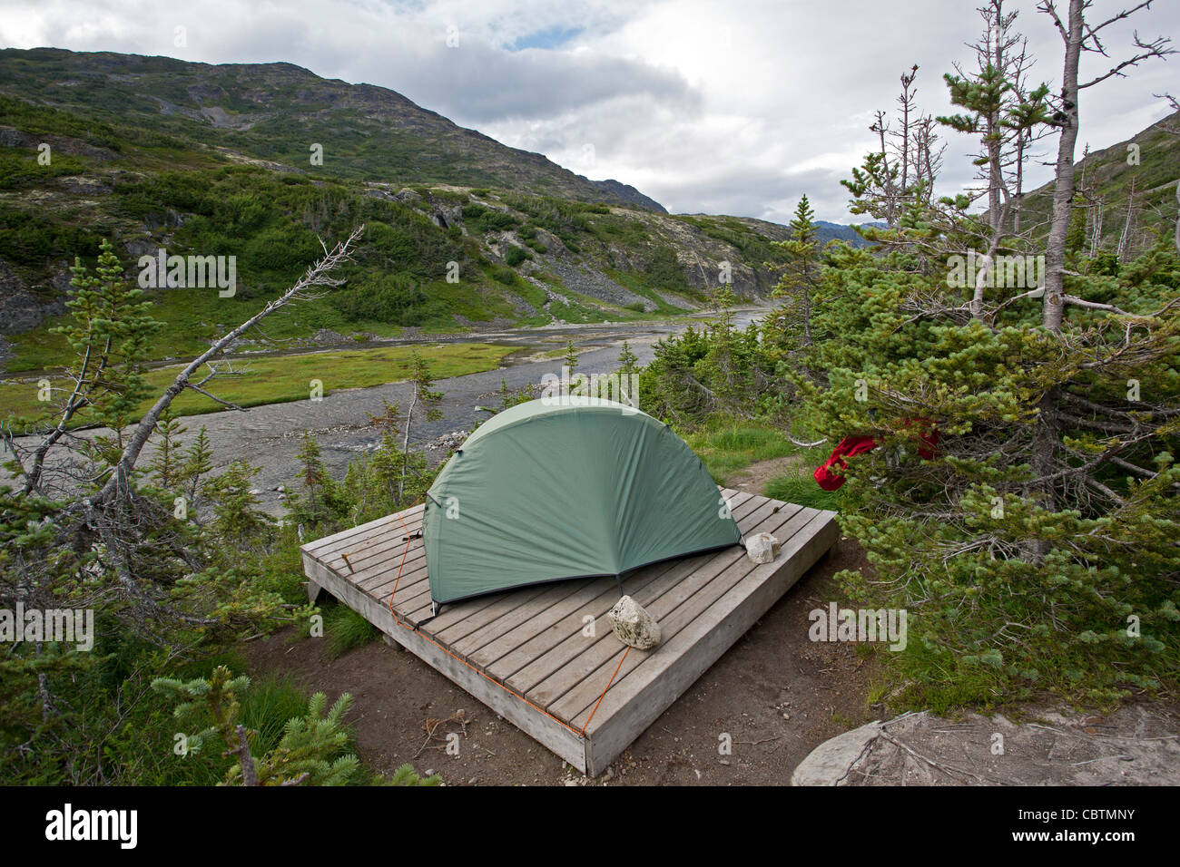Tent On A Wooden Platform Happy Camp Chilkoot Trail