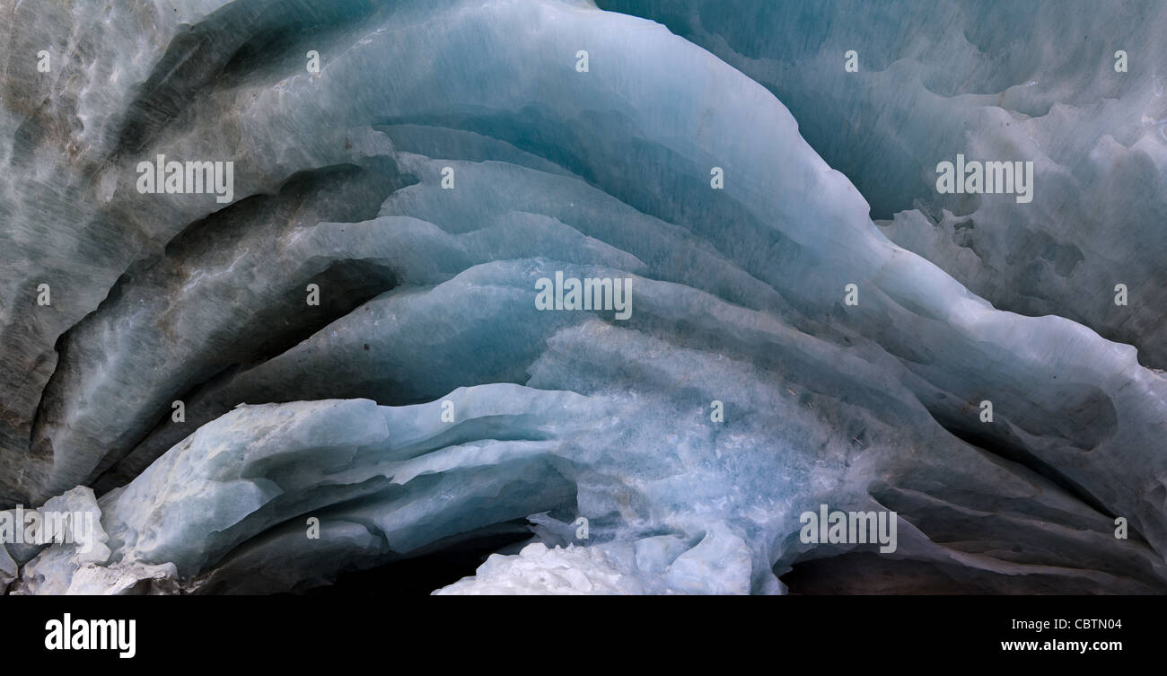 Bizarre and gorgeous ice cave of the Glacier de Zinal in Valais Wallis - Stock Image