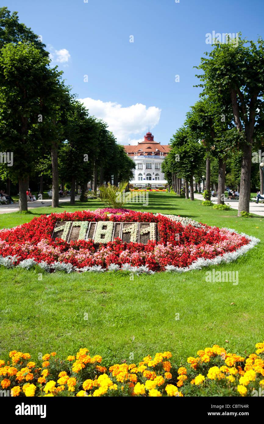 Elizabeth baths Alzebity lazne, thermal bath with flower decorated park in front of main building. Karlovi Vari, - Stock Image