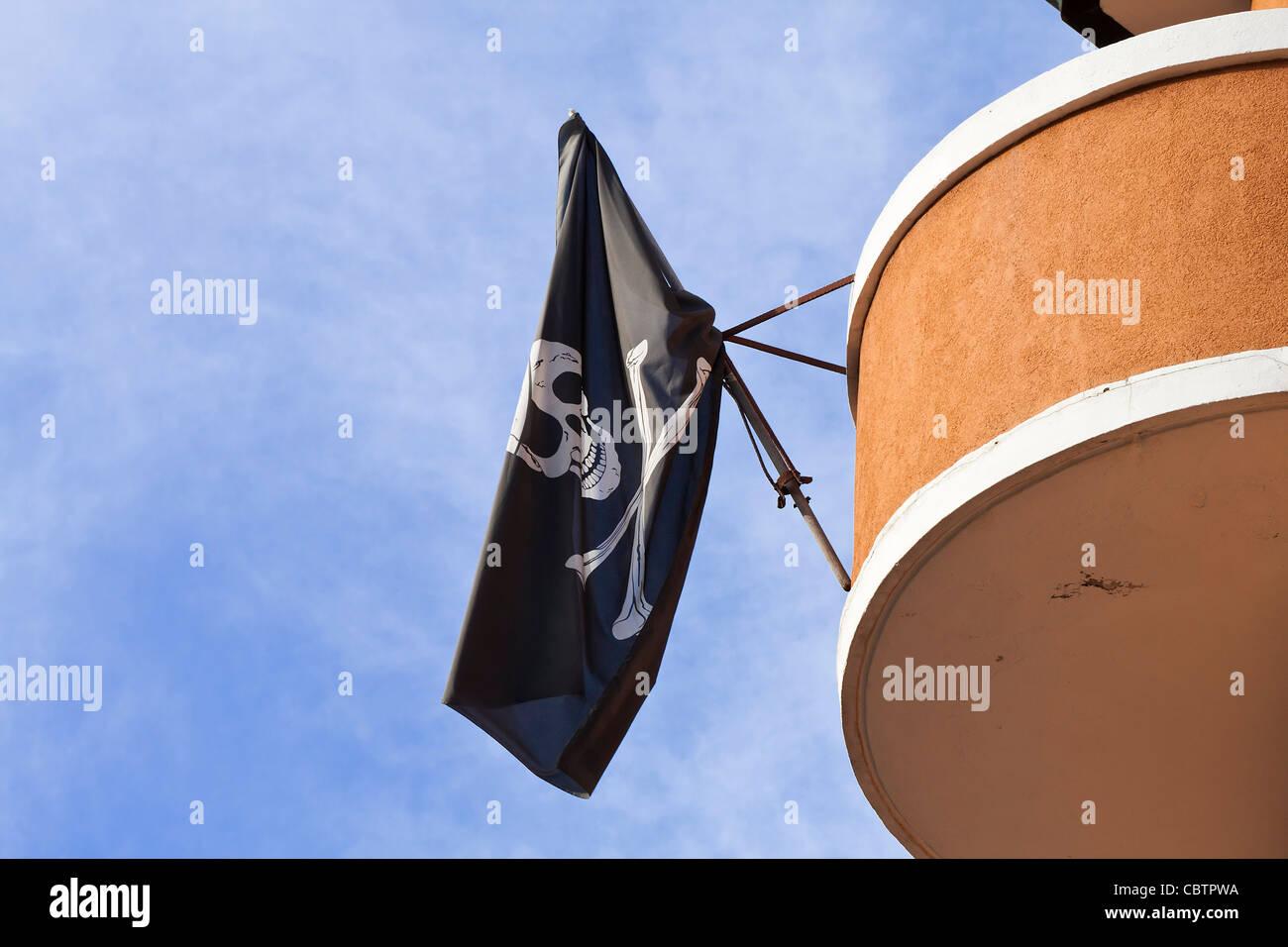 Jolly Roger Flag - Stock Image