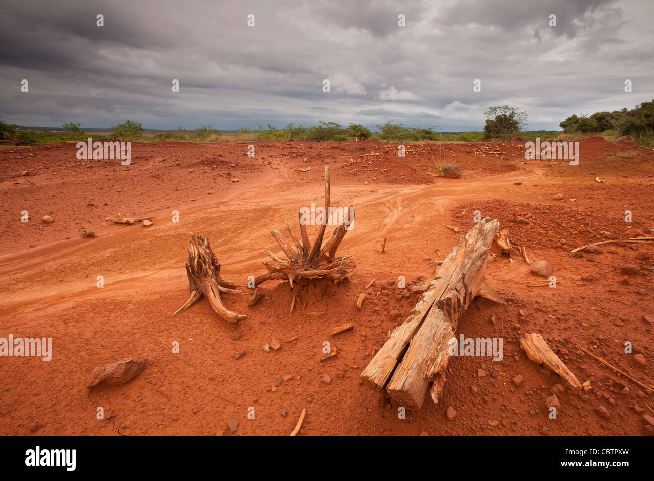 Eroded soil in Sarigua national park (desert) in Herrera province, Republic of Panama. Stock Photo