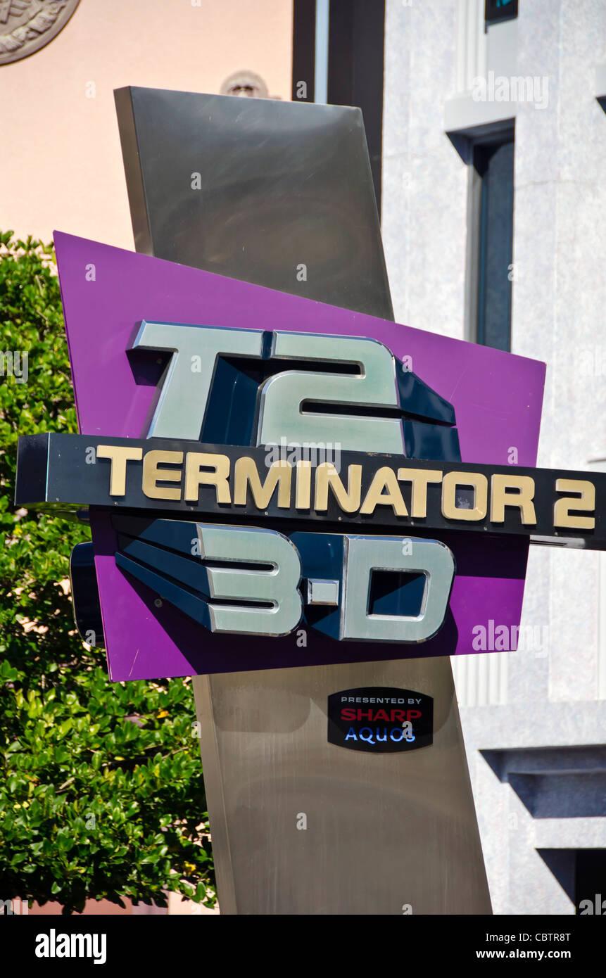 T2 Terminator 3-D attraction sign  Universal Studios Orlando Florida - Stock Image