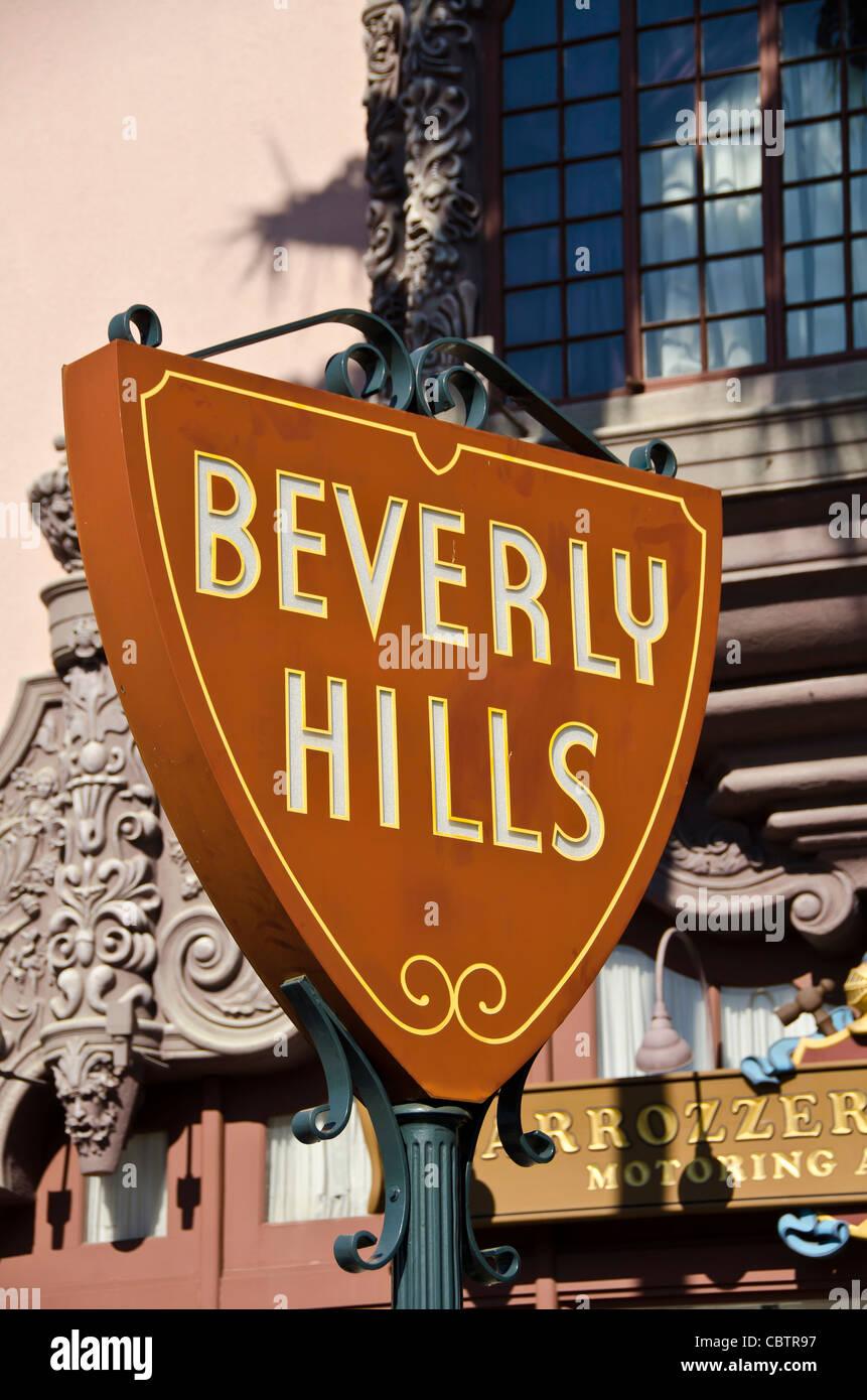 Beverly Hills sign on the Hollywood set of Universal Studios Orlando, Florida, - Stock Image
