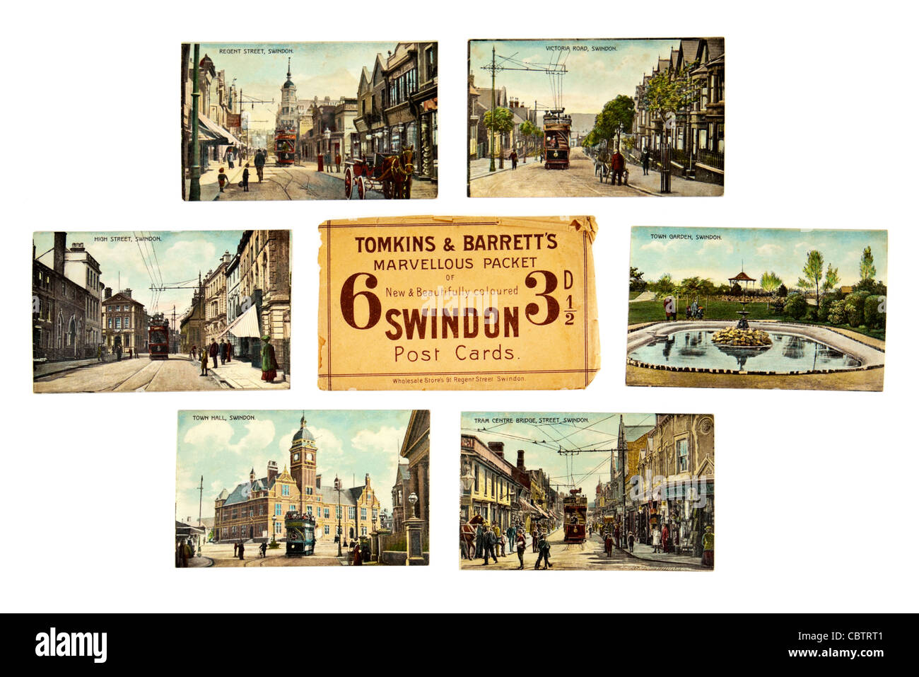 Set of 1920's early colour postcards of Swindon, Wiltshire (UK), sold by Tomkins & Barrett - Stock Image