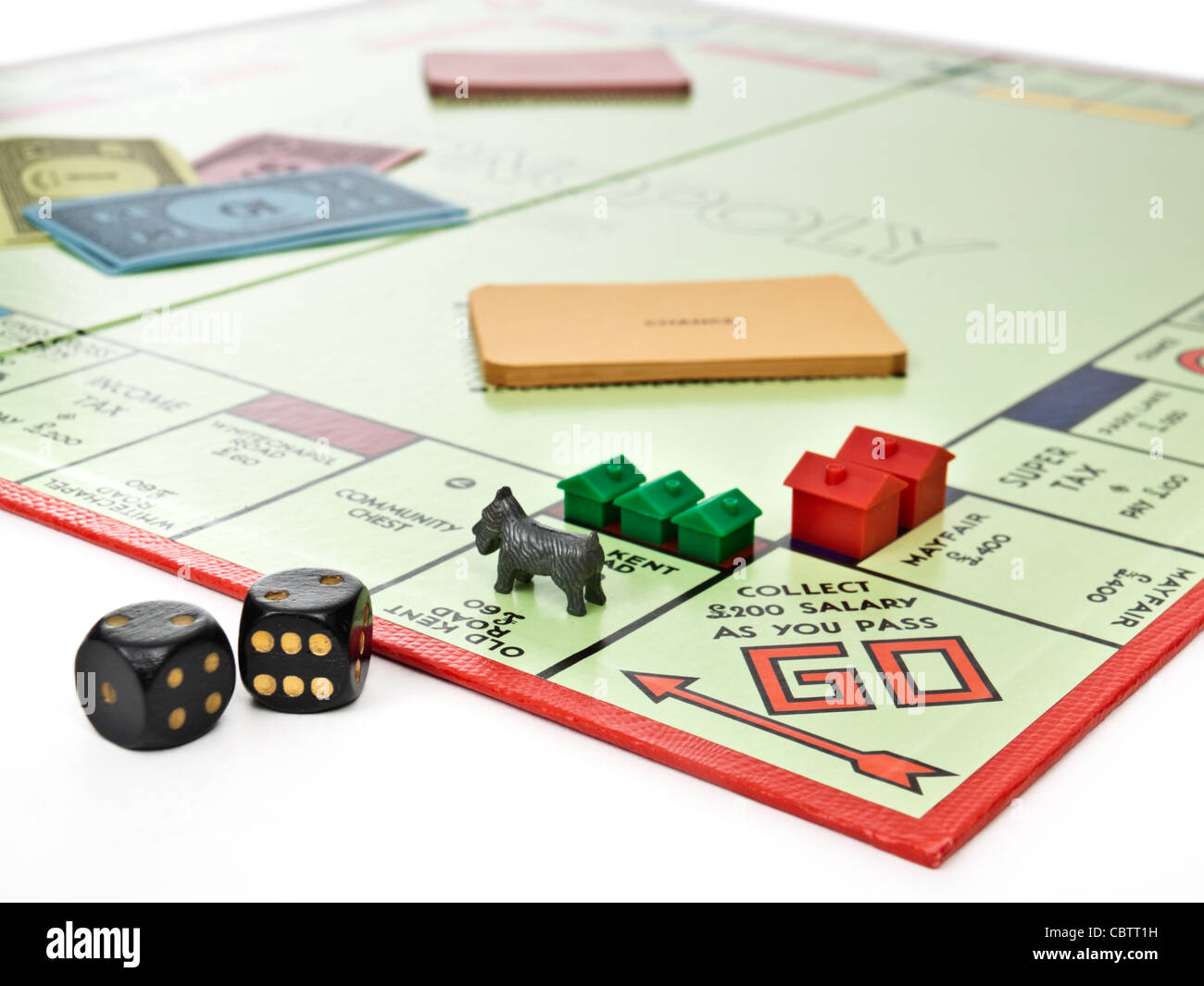 Monopoly property trading board game - Stock Image
