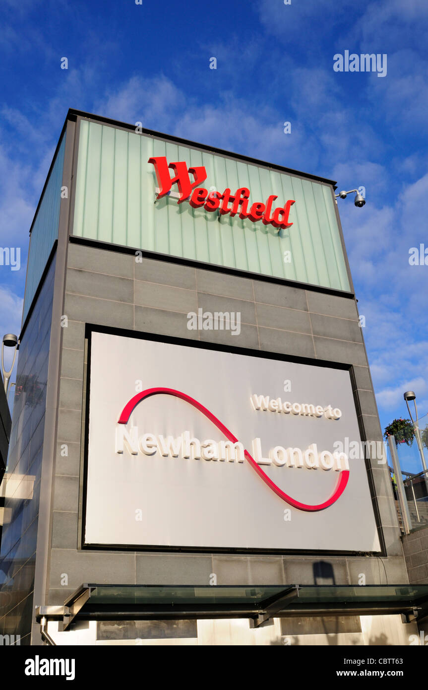 Westfield Shopping Centre and Welcome to Newham, London Signs, Stratford, London, England, UK - Stock Image