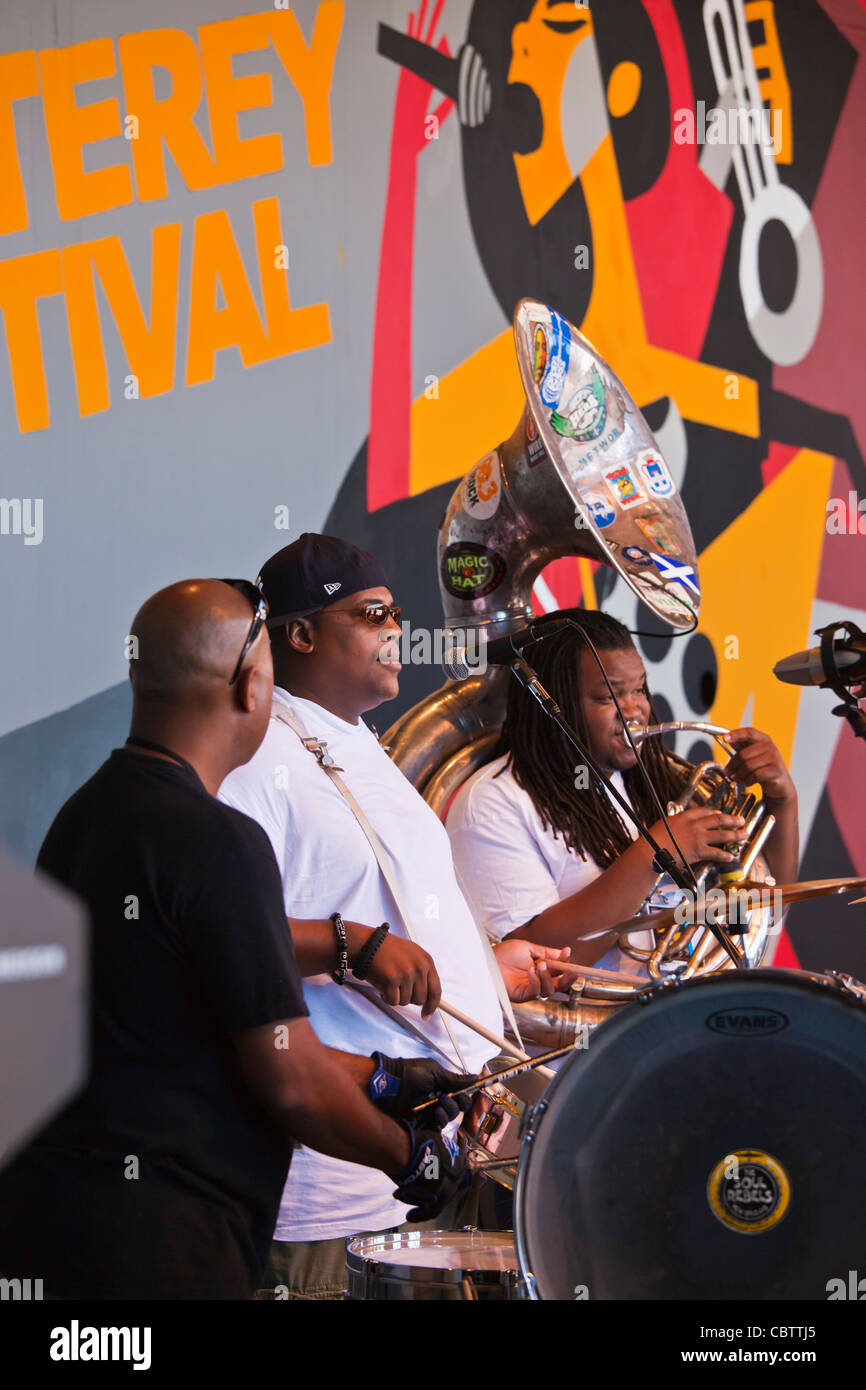 An ATERNOON WITH TREME performed by WENDELL PIERCE AND THE SOUL REBELS BRASS BAND - 54TH MONTEREY JAZZ FESTIVAL - Stock Image