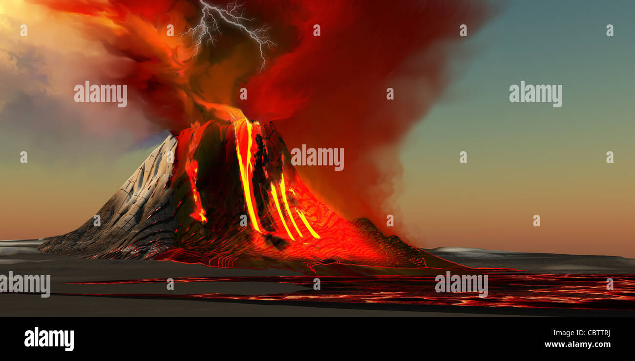 The Kilauea volcano erupts on the island of Hawaii with plumes of fire and smoke. - Stock Image