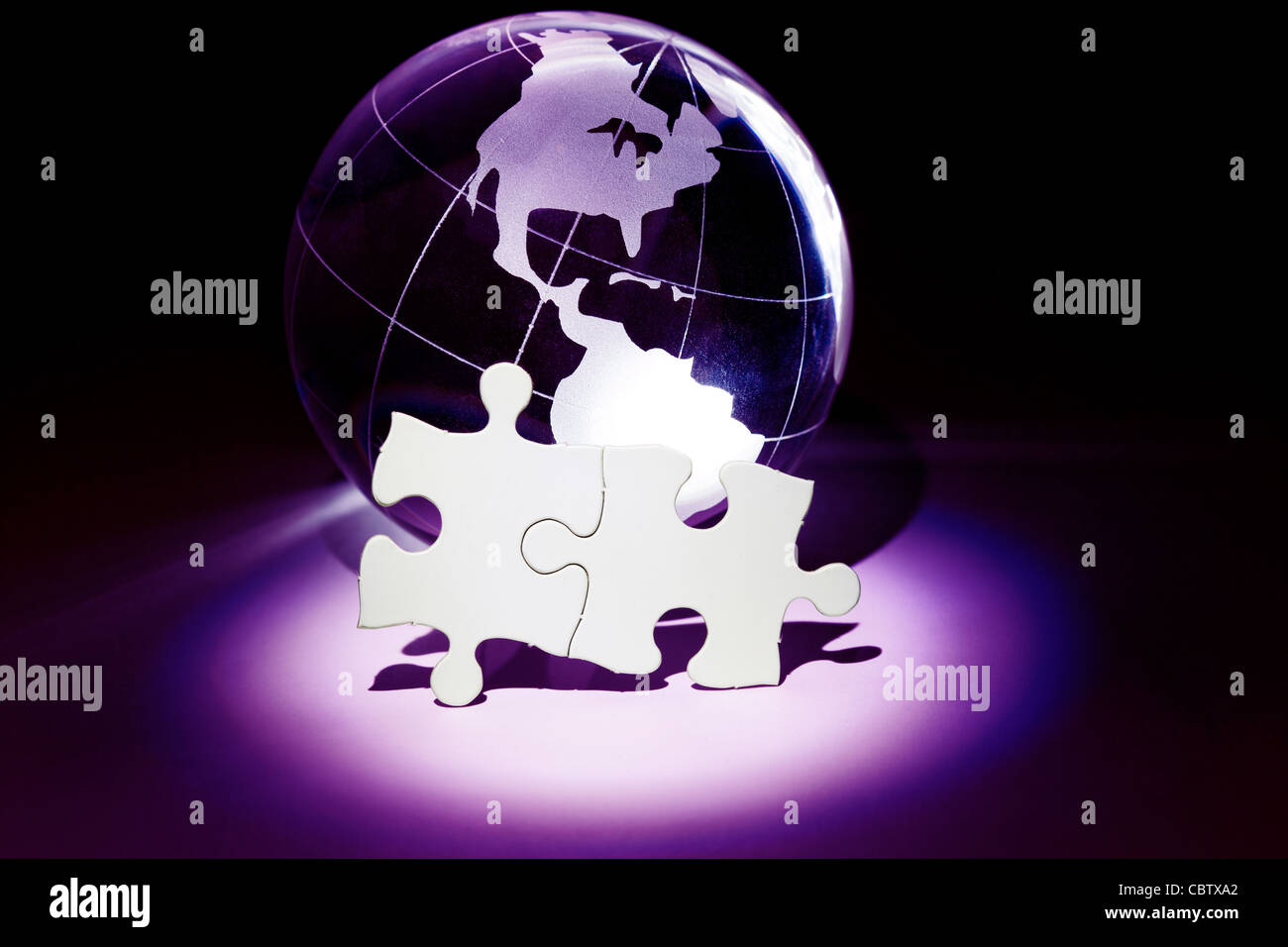 Jigsaw puzzle world map stock photos jigsaw puzzle world map stock globe and white puzzle business concept stock image gumiabroncs Image collections