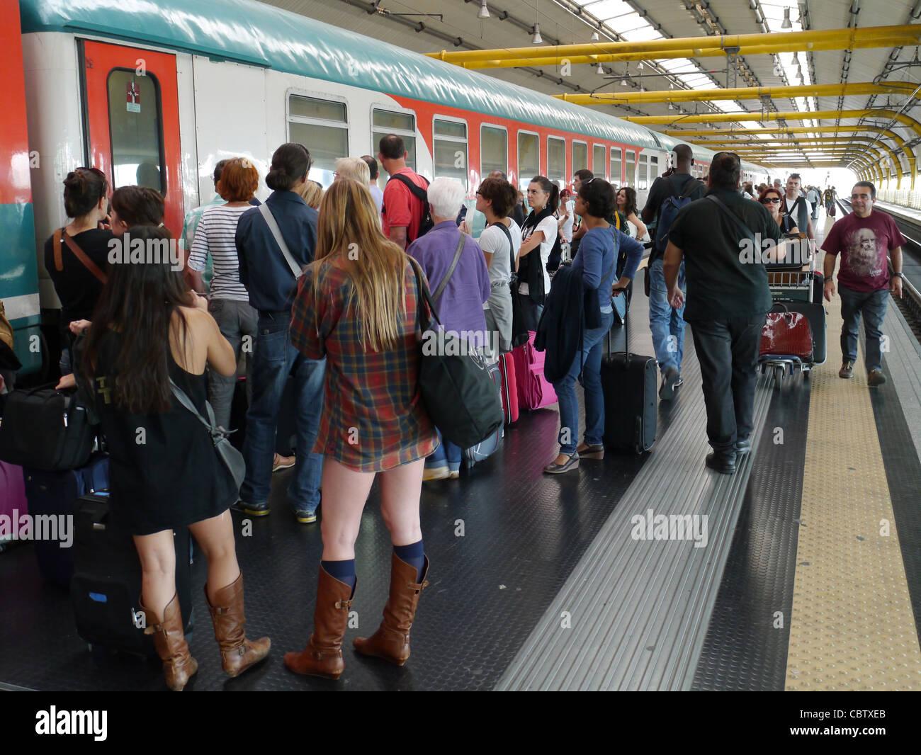 Train station in Rome, Fiumicino Airport - Stock Image