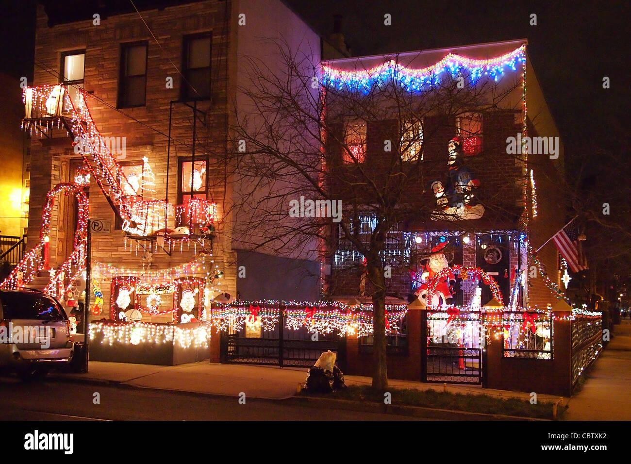 Christmas lights, South 3rd St., Williamsburg, Brooklyn, New York ...