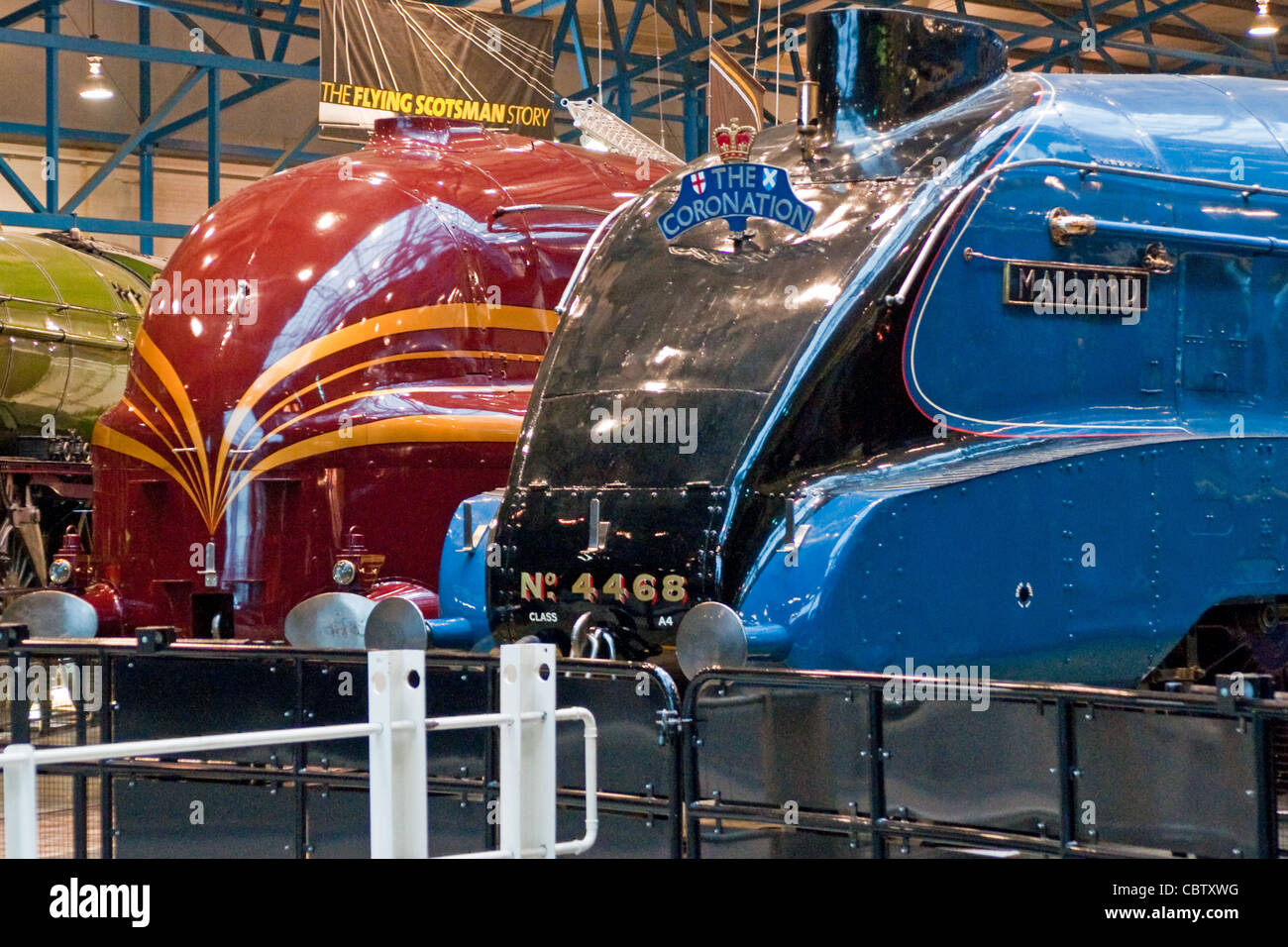 The iconic steam locomotives Duchess of Hamilton and world record holder Mallard displayed in the National Railway - Stock Image