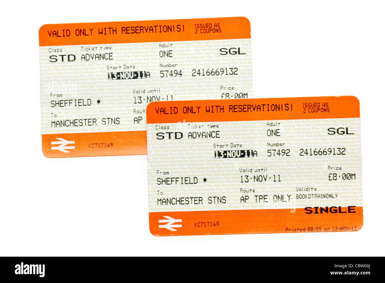 Two Sheffield to Manchester train tickets for 13th November 2011 - Stock Image