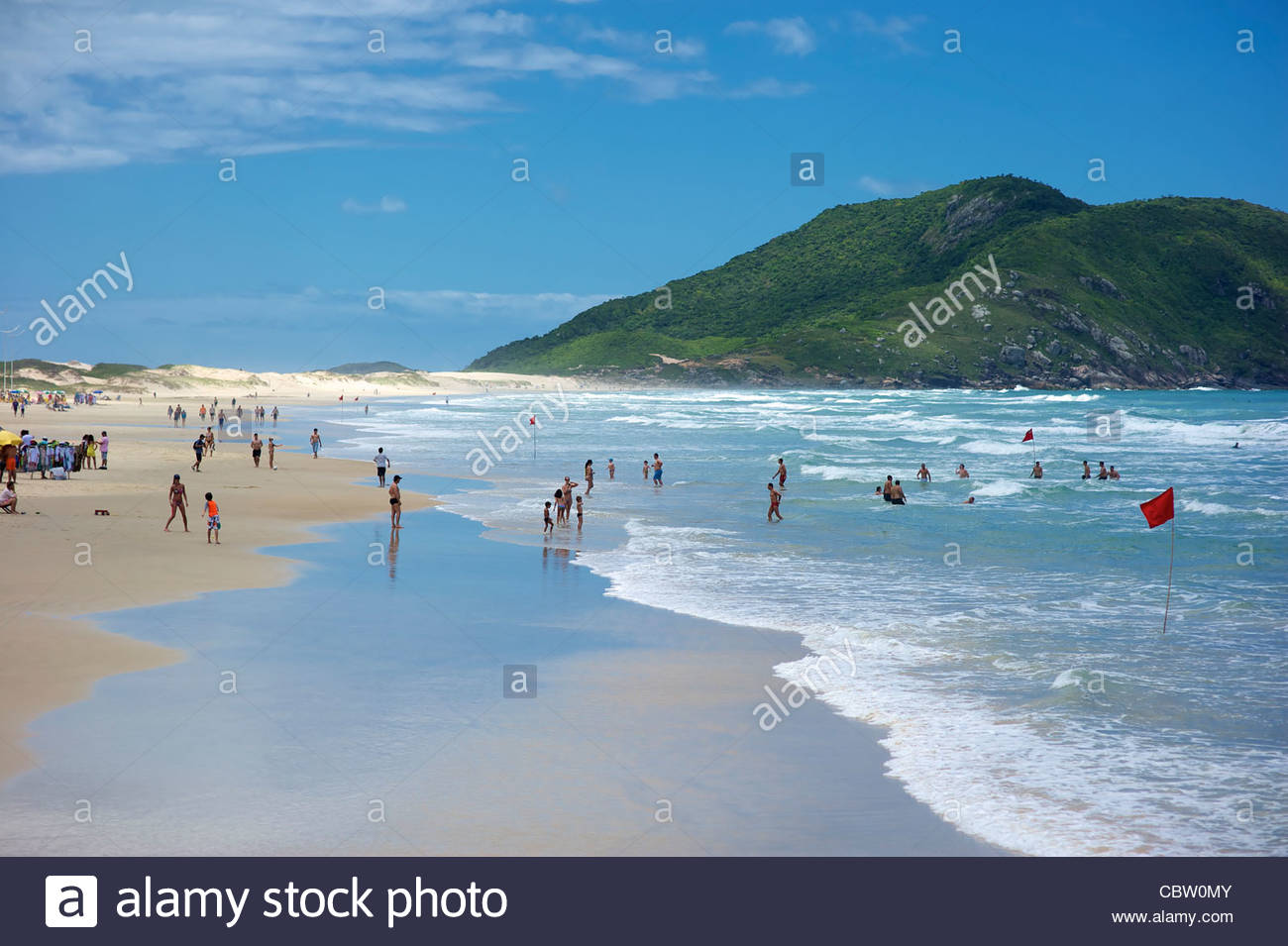 Praia do Santinho is a beach in north Florianopolis, Santa Catarina state, Brazil, located about 40 kilometres from - Stock Image