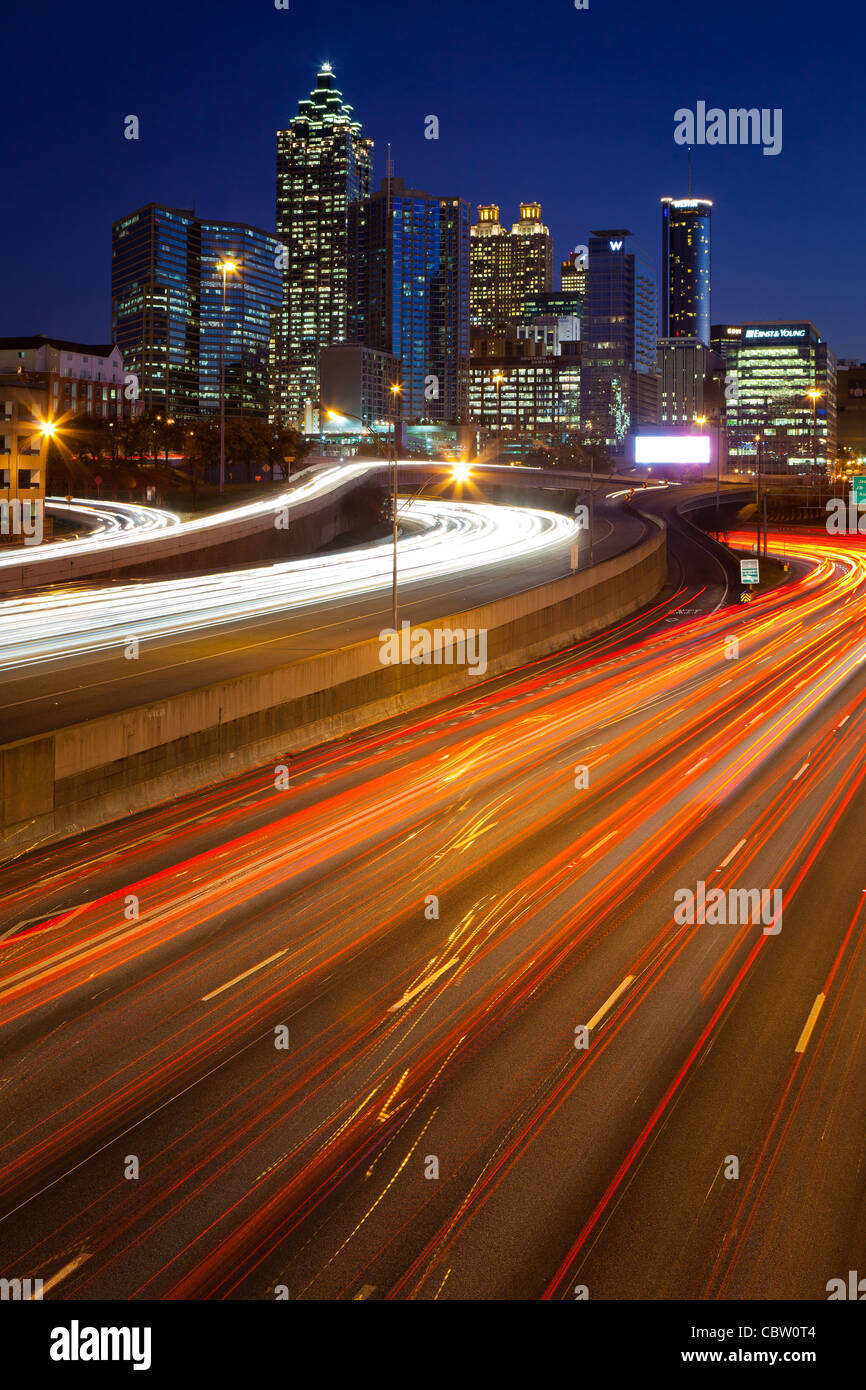 The I-85 highway and midtown Atlanta at night - Stock Image
