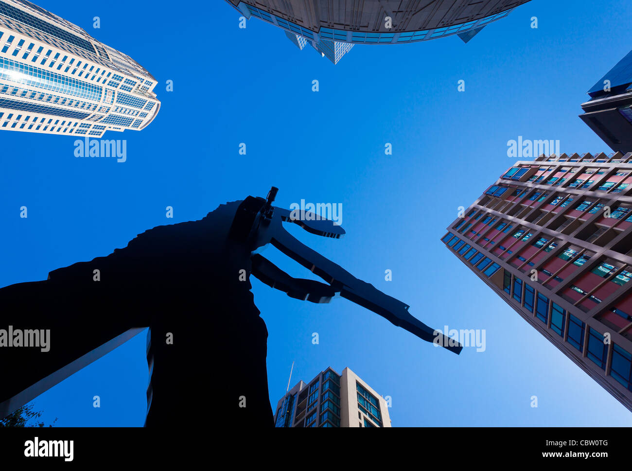 'Hammering Man' sculpture in front of the Seattle Art Museum - Stock Image