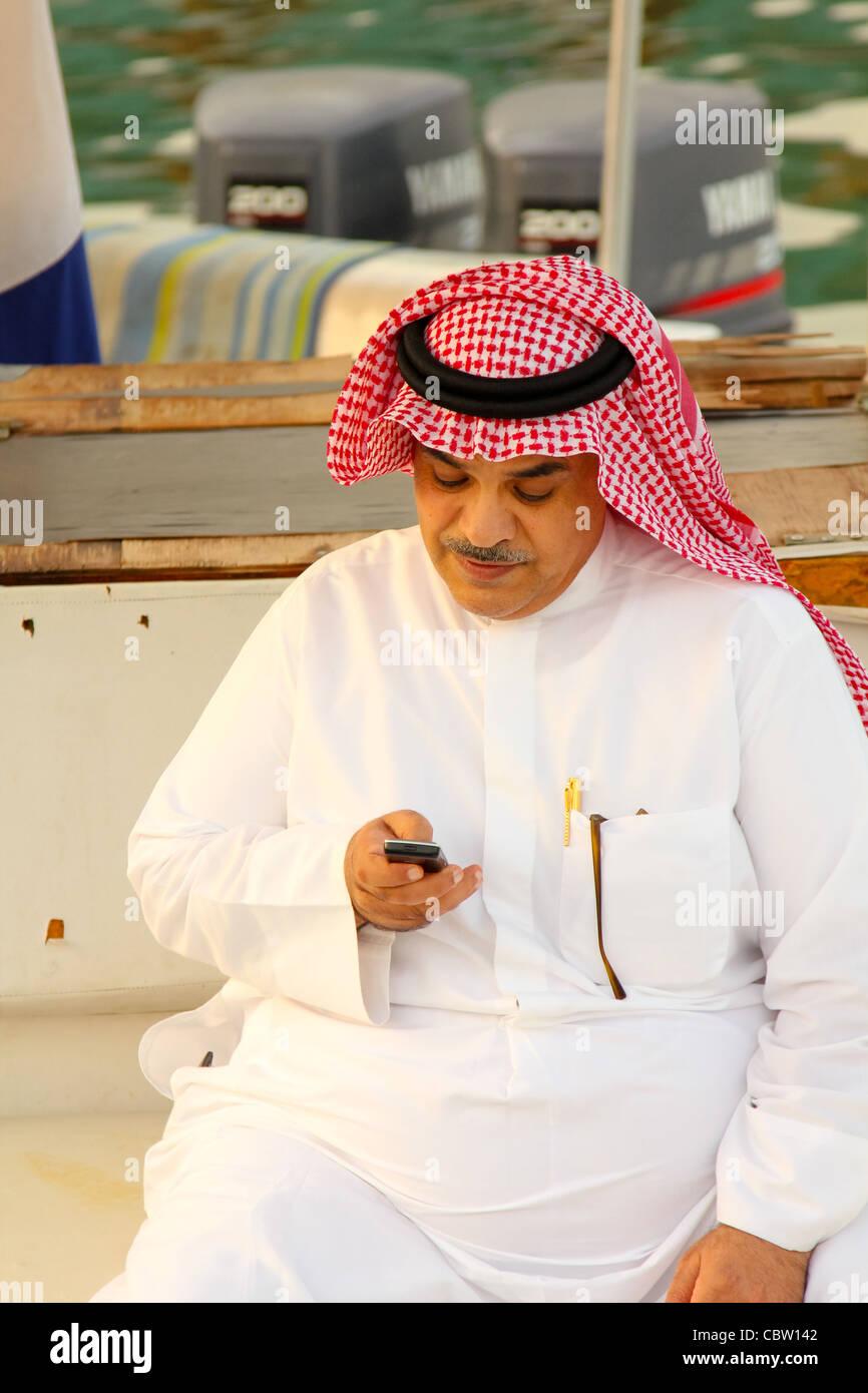 Kuwait City, Fisher at boat - Stock Image