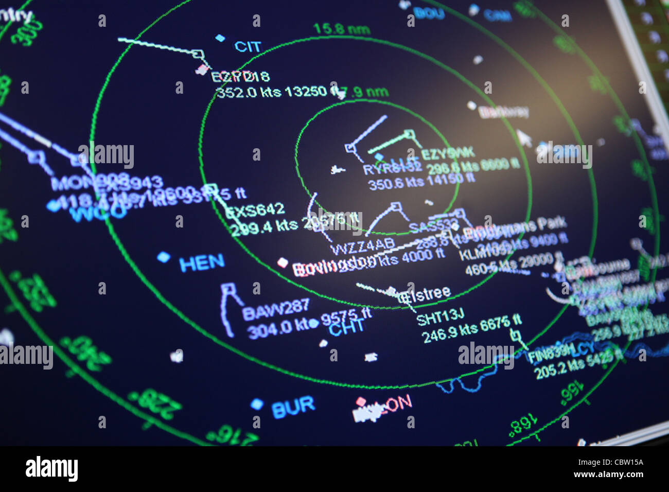 Air traffic control radar screen of aircraft above Luton airport, UK - Stock Image