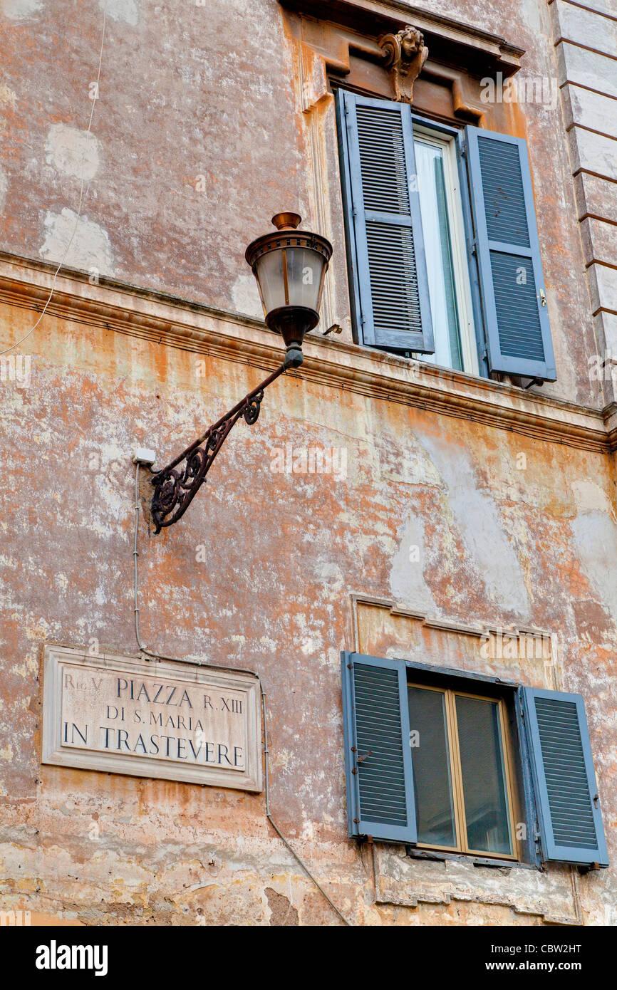 Piazza di S. Maria in Trastevere Rome Italy - Stock Image