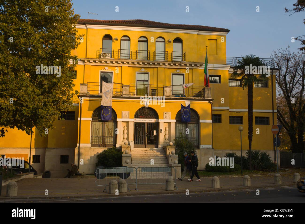 Art Nouveau building housing Ostello Olimpico hostel Piazza Matteotti central Vicenza the Veneto region northern - Stock Image