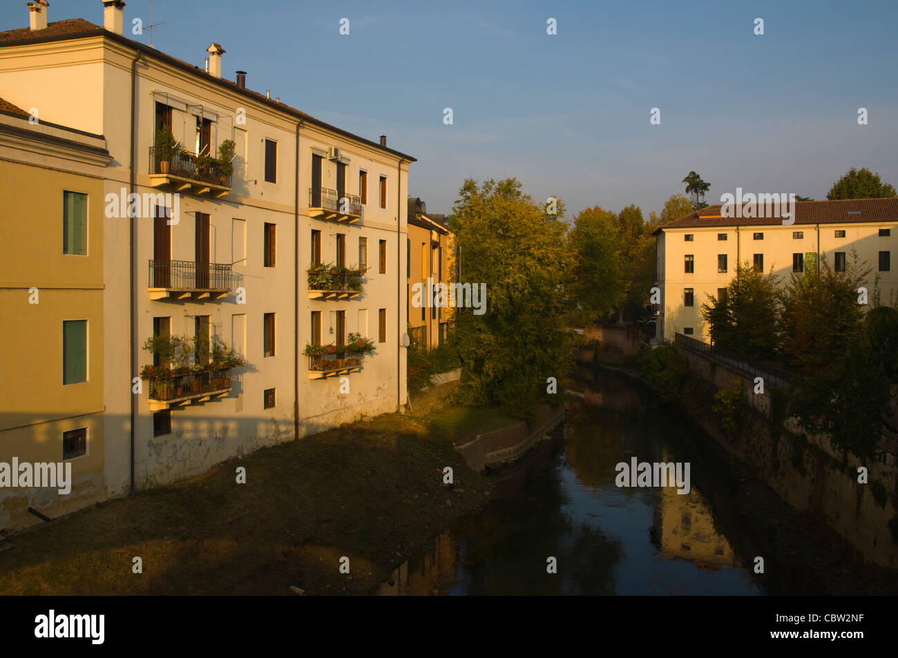 Residential buildings along river Bacchiglione central Vicenza the Veneto region northern Italy Europe - Stock Image