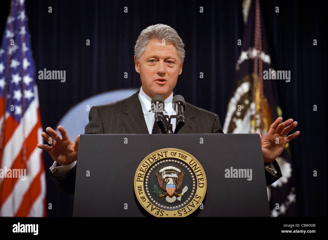 President Clinton answers a question during a press conference at the White House June 25, 1999. Clinton called - Stock Image