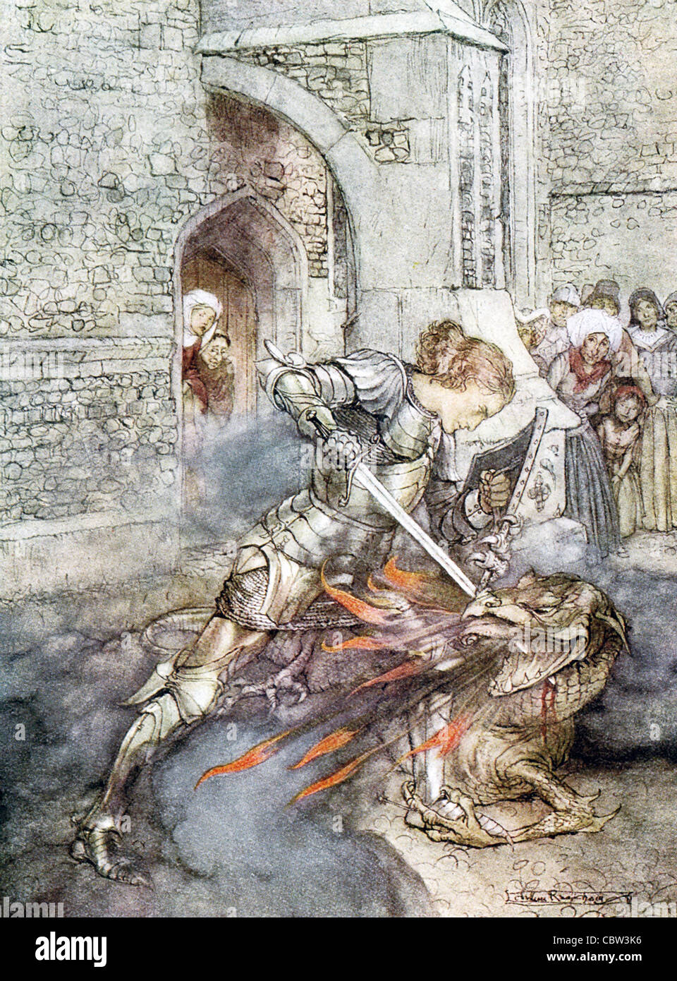 In Arthurian legend, Lancelot (shown here) and Tristan are both knights of the Round Table and dragon slayers. - Stock Image