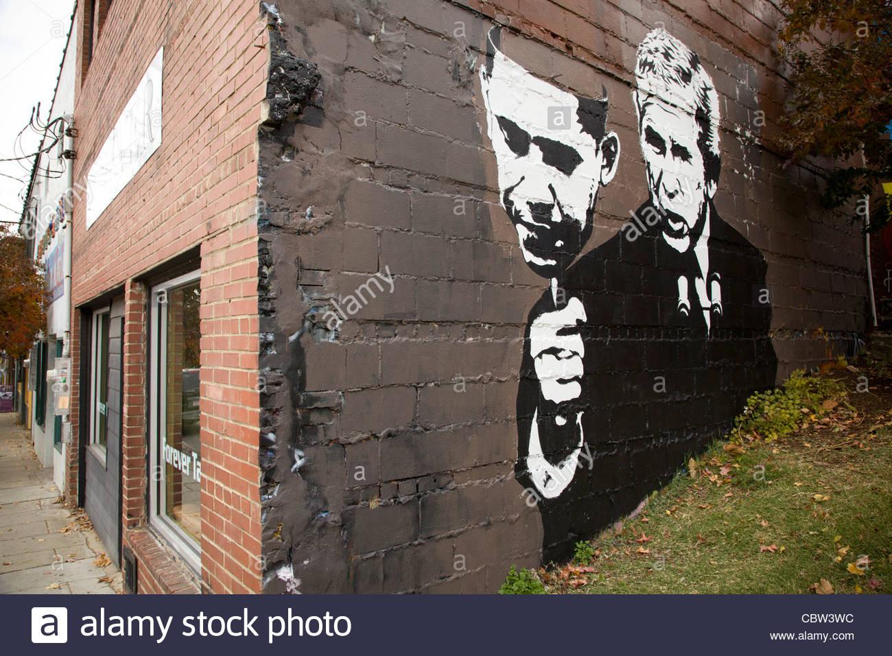 Wall Graffiti, Asheville, North Carolina - Stock Image