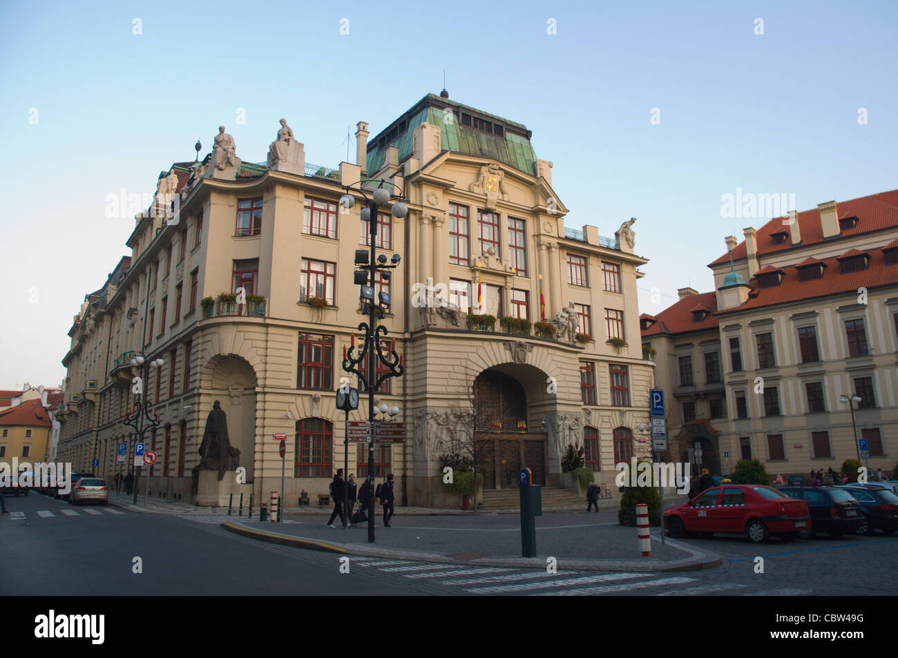 Marianske Namesti square with Nova Radnice the new town hall in old town Prague Czech Republic Europe - Stock Image