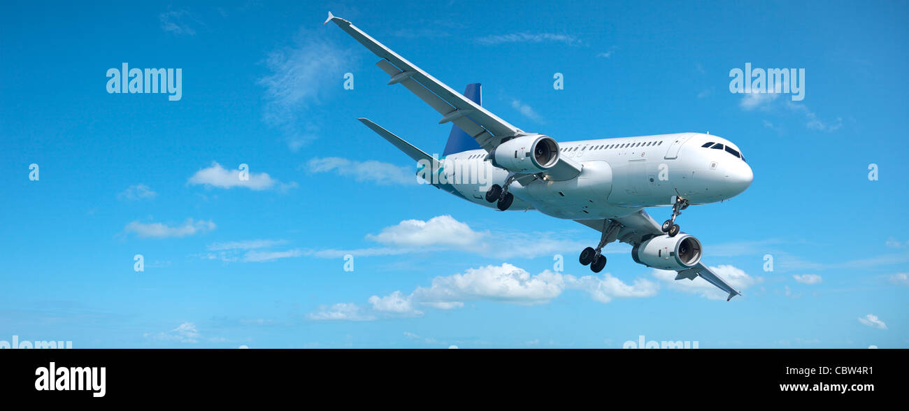 Jet plane in a sky. Panoramic composition. - Stock Image