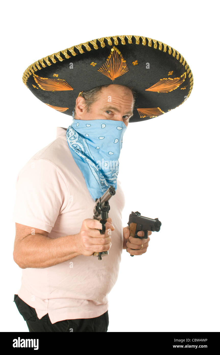 Middle Age Senior Tourist Male Wearing Mexican Sombrero Mariachi Hat Cowboy Bandana Handgun Pistols