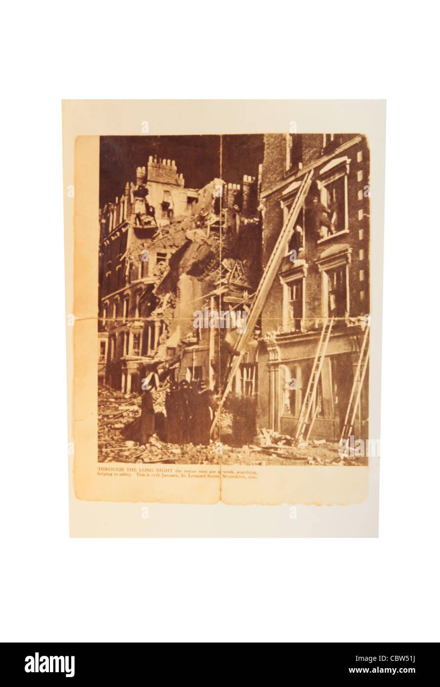 Leonard Street, EC2 bombed buildings during World War 2. - Stock Image