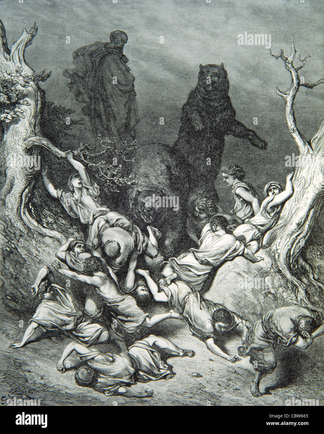 Brown Bears Attacking Children, 'The Children Destroyed by Bears', from The Doré Bible, Engraving by - Stock Image