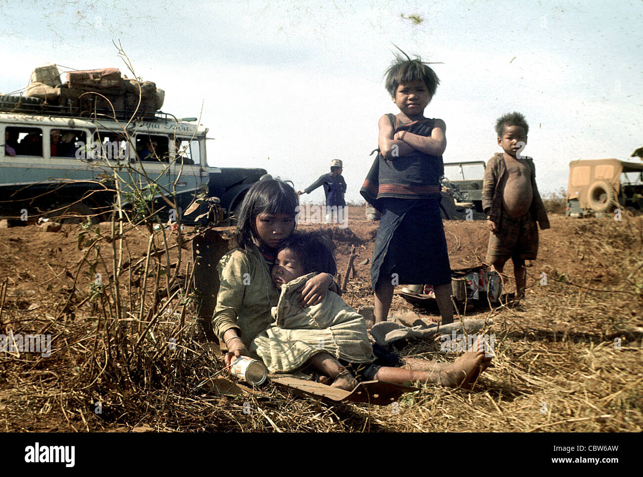 Montagnard War Refugee orphan children in the 4th Infantry Division's area of operations vietnam war pleiku Stock Photo