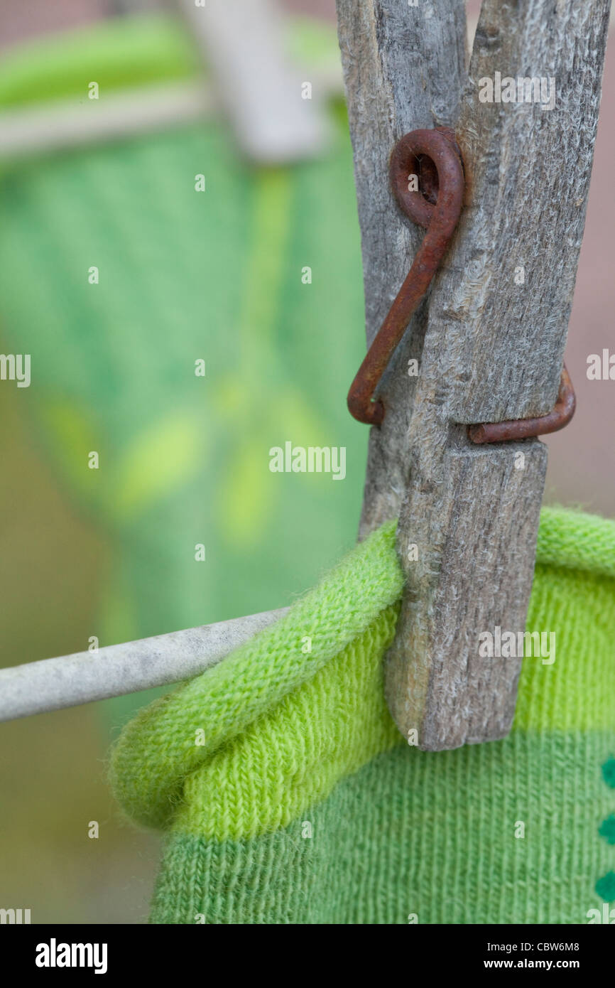 Wooden Cloths Pins - Stock Image