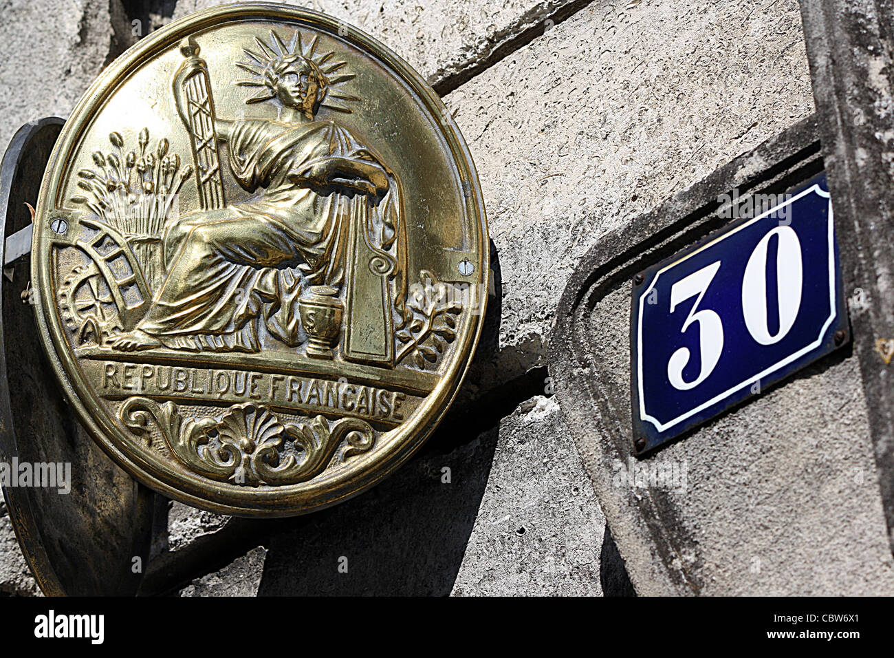 Brass plate indicating presence of lawyers office, Angouleme, SW France - Stock Image