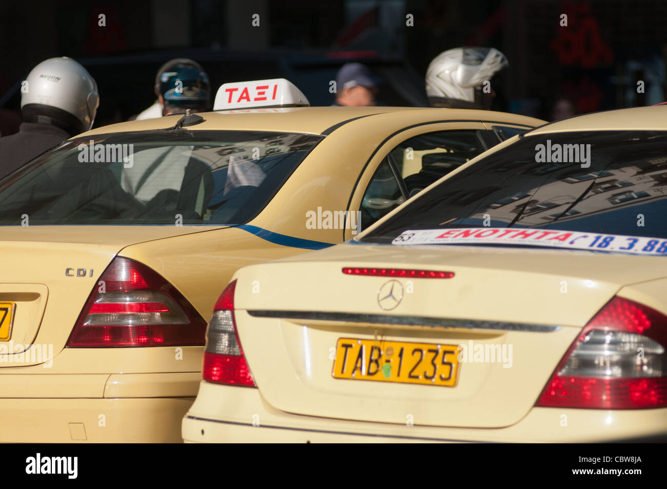 Taxicabs in Athens, Greece. - Stock Image