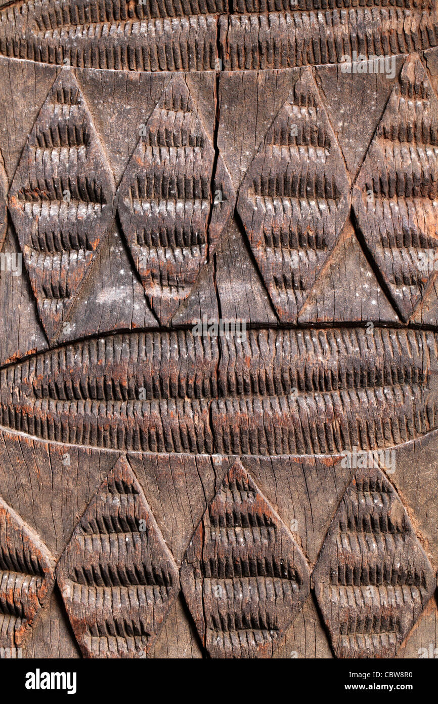 Wooden door, tribal art, Igbo, Nigeria, Africa - Stock Image