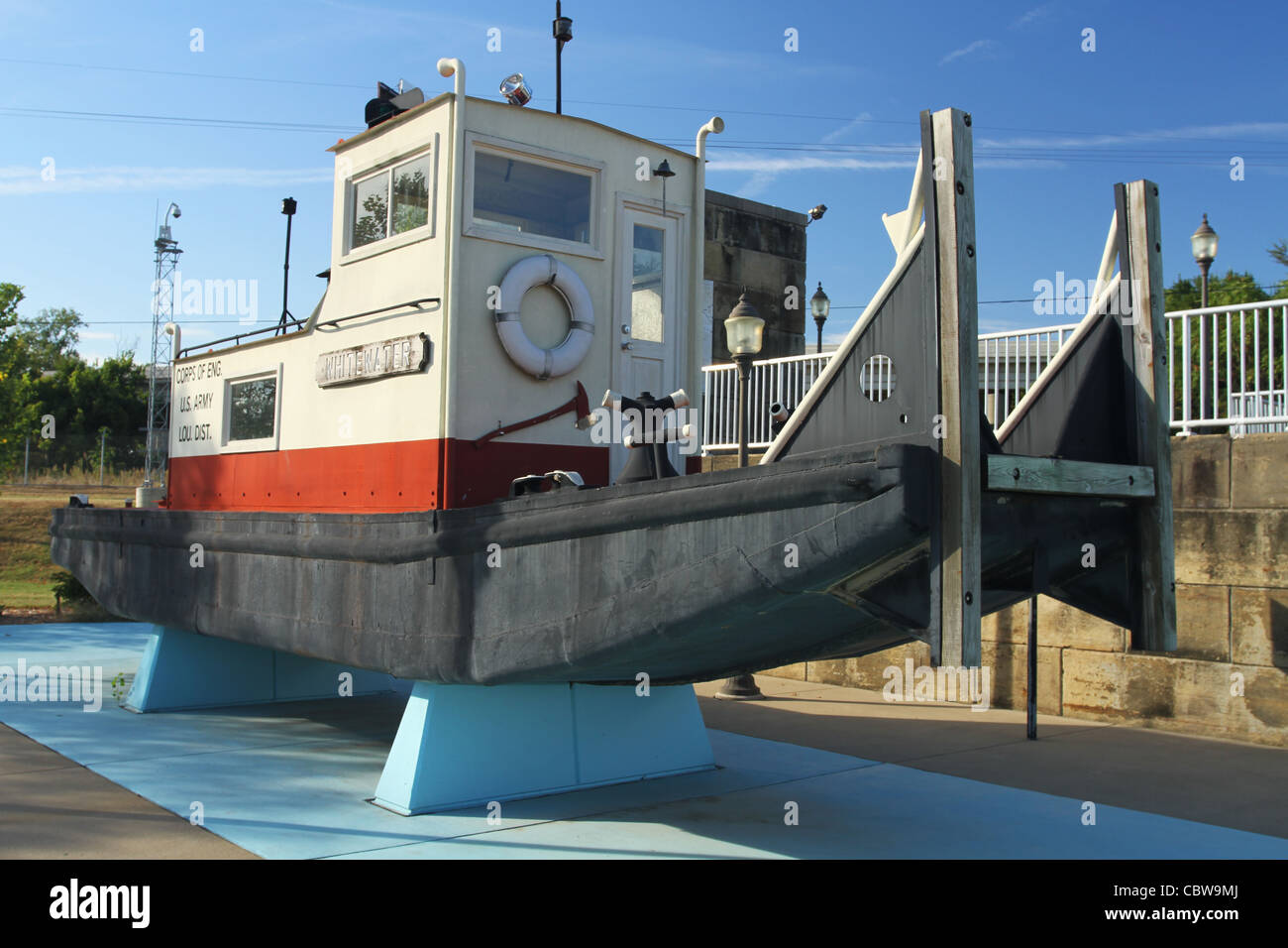 Boat named Whitewater on display. McAlpine Locks and Dam. On the Ohio River. Louisville, Kentucky, USA. Stock Photo