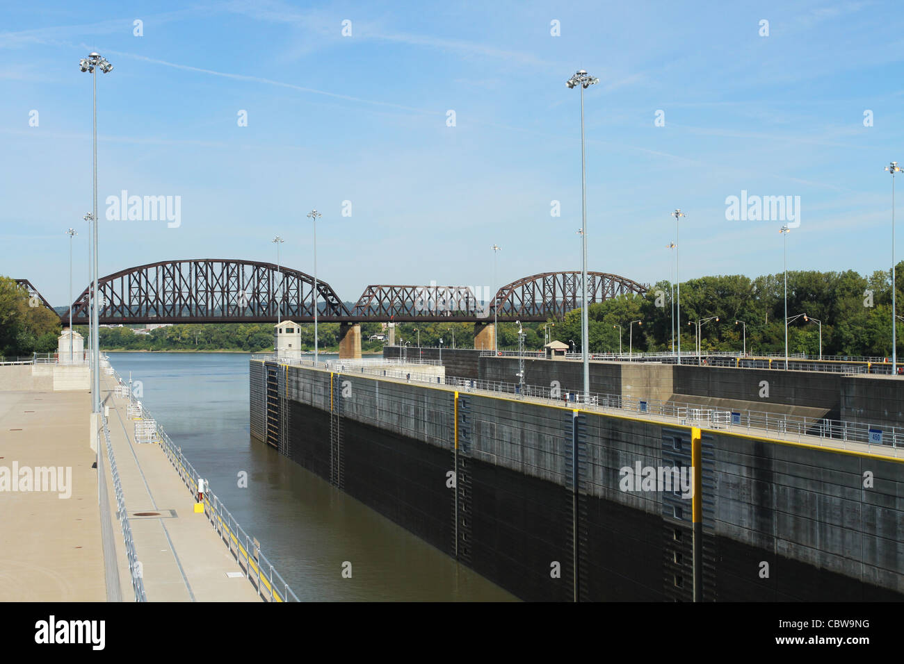 Lock at the McAlpine Locks and Dam. On the Ohio River. Louisville, Kentucky, USA. Stock Photo