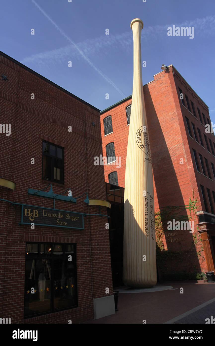 Louisville Slugger Museum and Factory. Sign made of Baseball Bat. Louisville, Kentucky, USA. - Stock Image