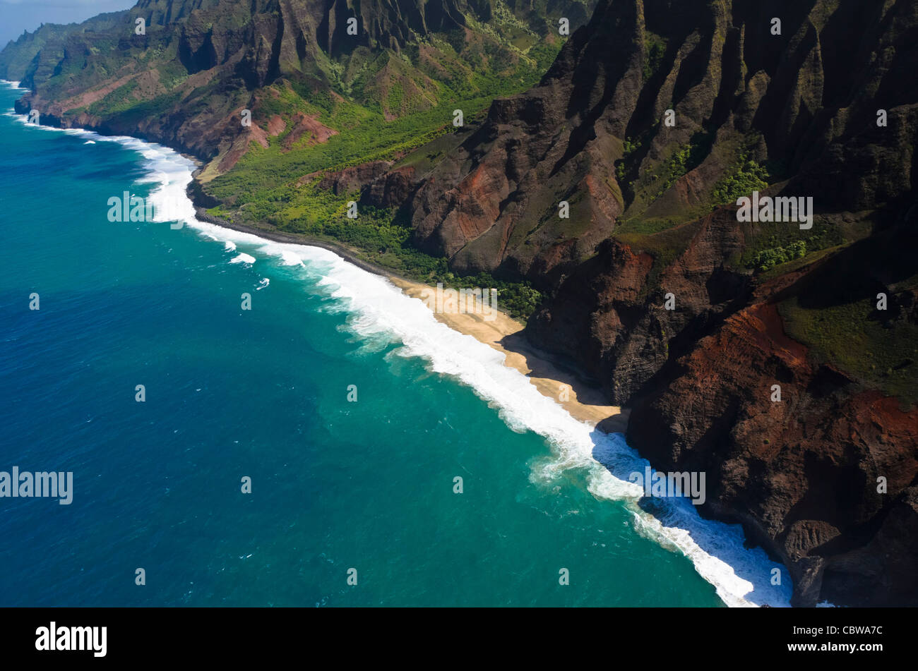The Na Pali coast from the sky, Kauai Island, Hawaii, USA - Stock Image