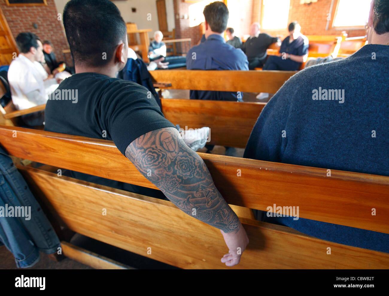Dominican lay program for prisoners at the medium security Massachusetts Correctional Institute, Norfolk, Massachusetts - Stock Image
