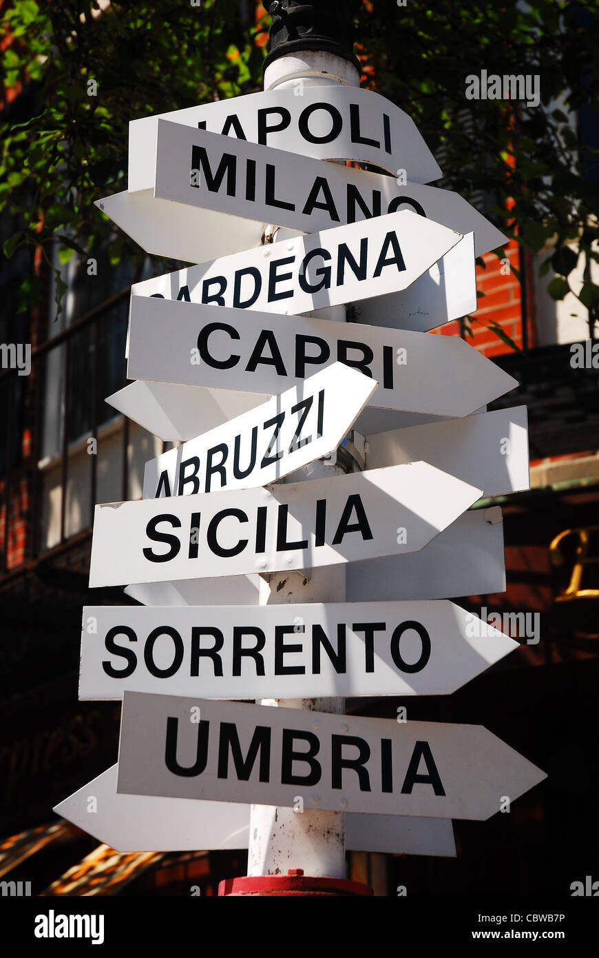 In Boston's Italian North End, sign point the way to the homeland. - Stock Image