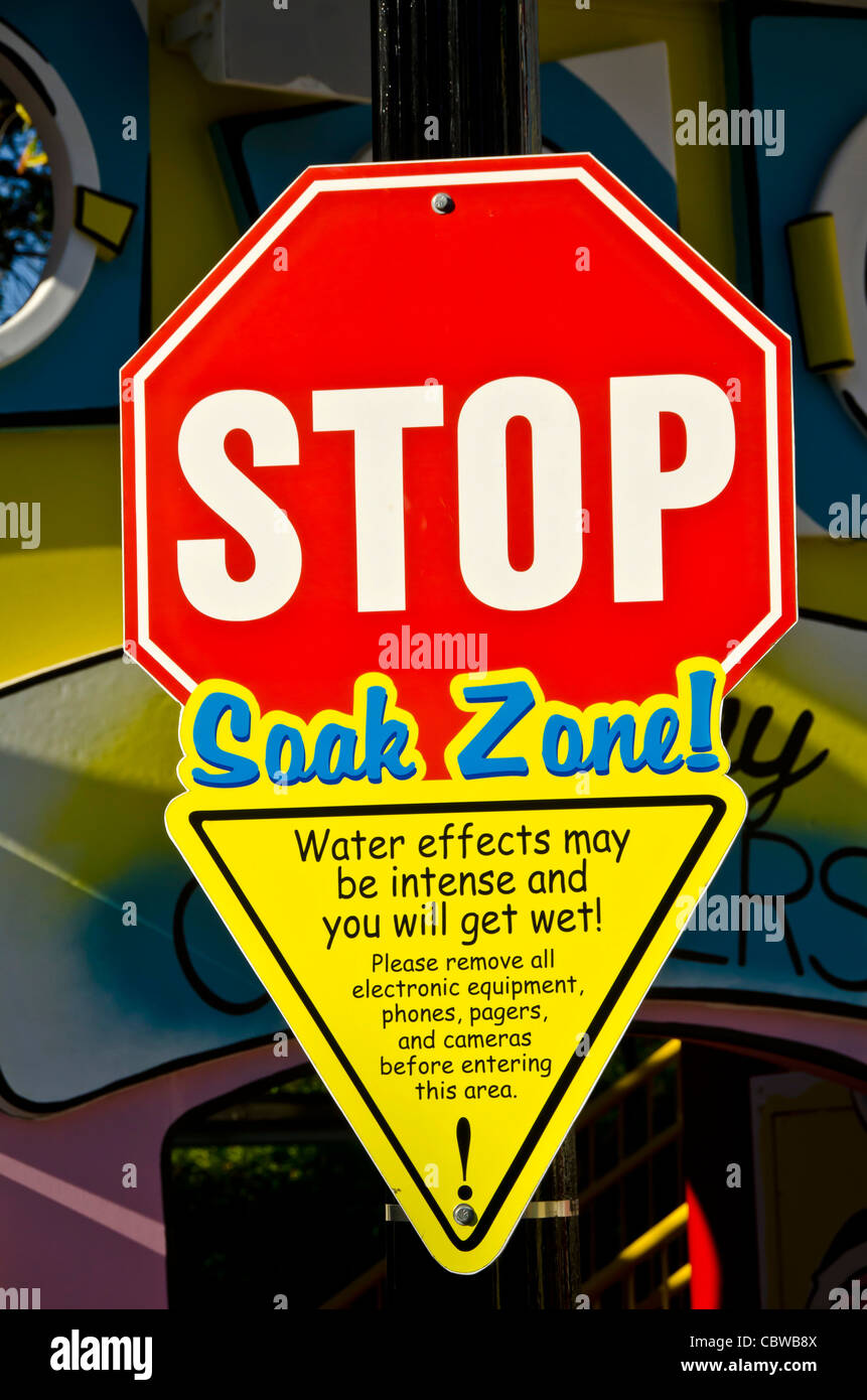 Stop Soak Zone sign kids playground at Universal Studios Orlando  Florida - Stock Image