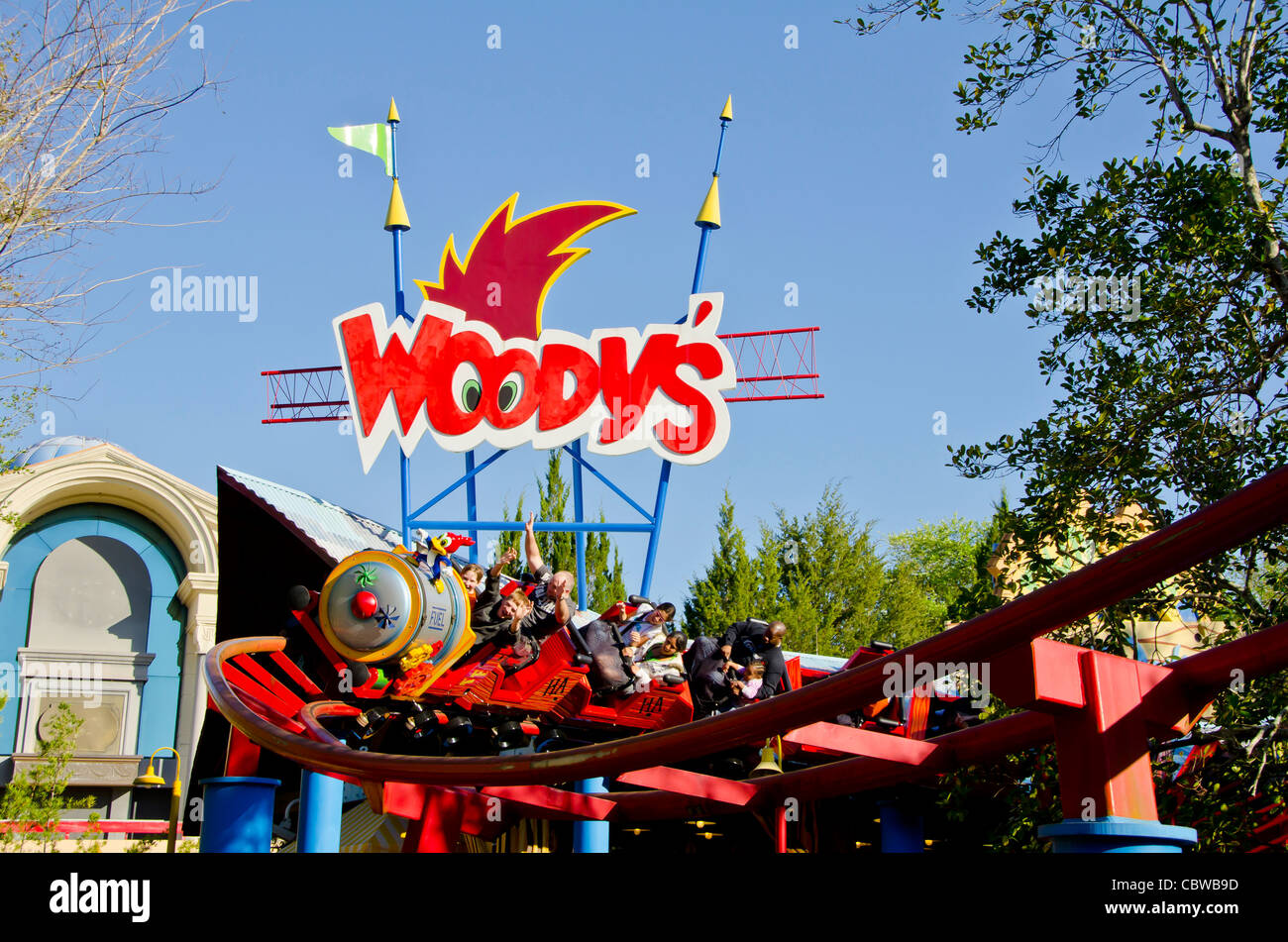 Woody Woodpecker Nuthouse Coaster with tourists at Universal Studios Orlando Florida - Stock Image