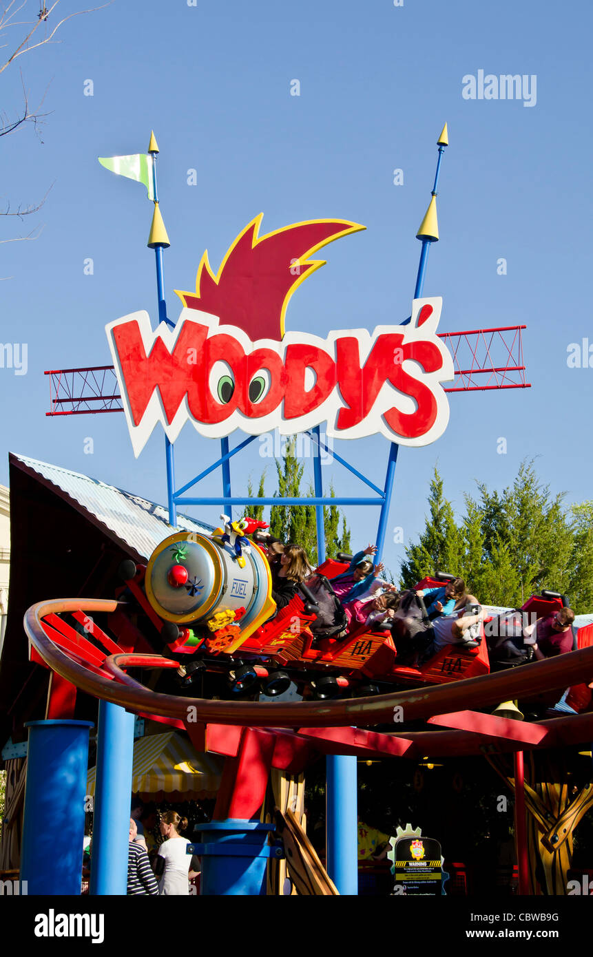 Woody Woodpecker's Nuthouse Coaster with tourists at Universal Studios Orlando Florida - Stock Image