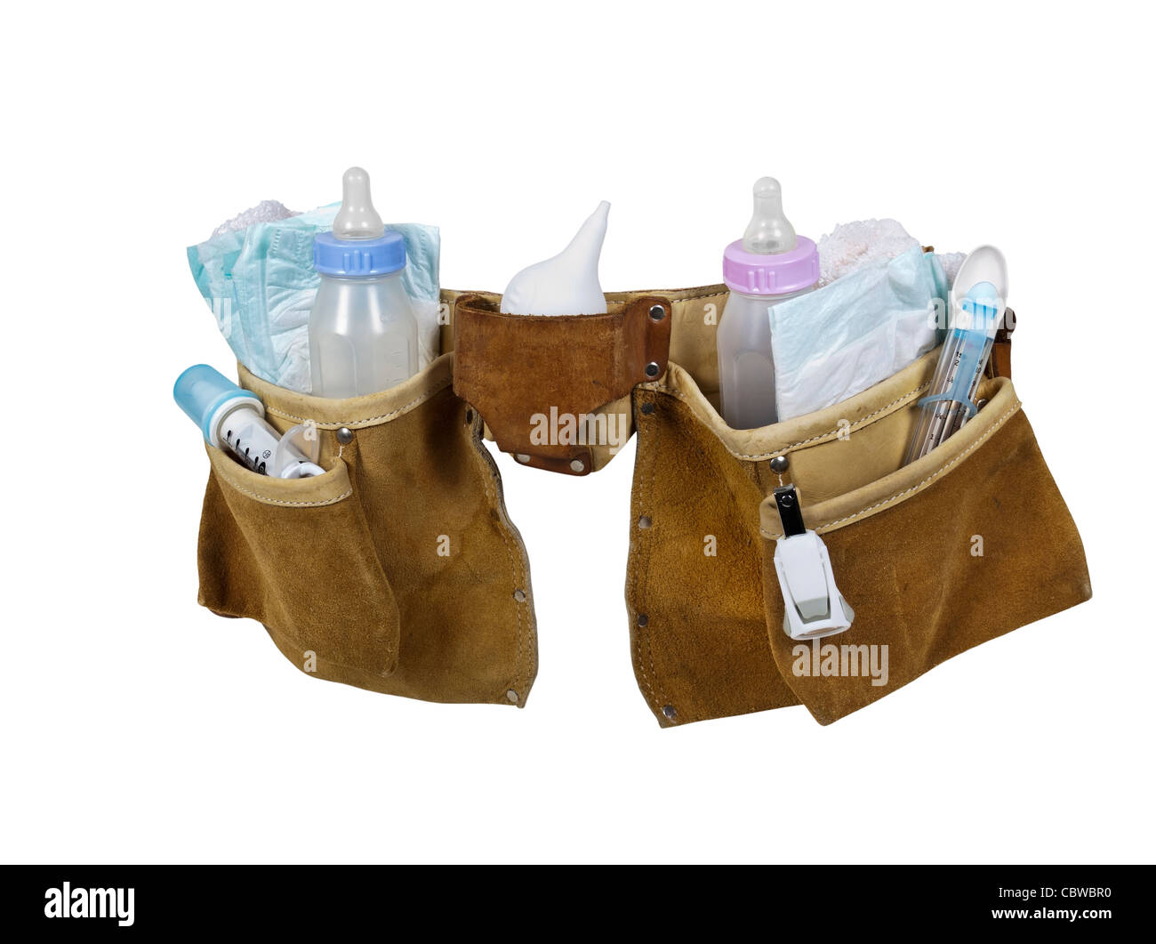 Baby items filling a leather tool belt for carrying items conveniently while working - path included - Stock Image
